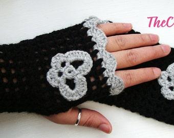 Crochet Fingerless Gloves, wrist warmer fingerless mittens, winter gloves fingerless arm warmers with gray butterfly