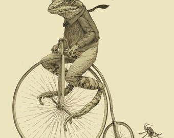 Frog on Bike Print 8x10 Old Time Bicycle Art Print