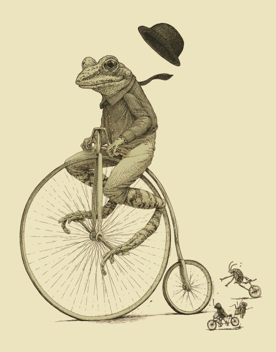Frog On Bike Print 8x10 Old Time Bicycle Art Print