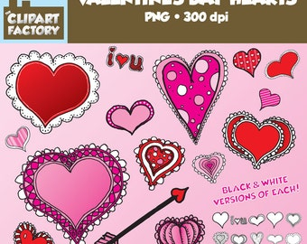 Clip Art: Fun Valentine's Day Hearts - Hand Drawn Valentines