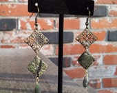 Old Growth- Rainforest Marble & Emerald Filigree Earrings