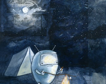 """Camping robot archival 11"""" x 14"""" print"""