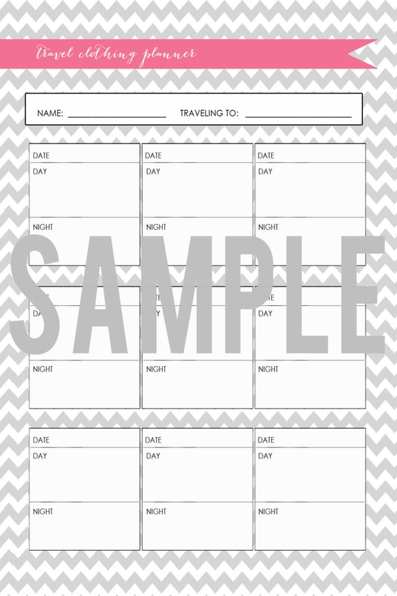 Items similar to Chevron Series Travel Outfit Planner Printable on Etsy