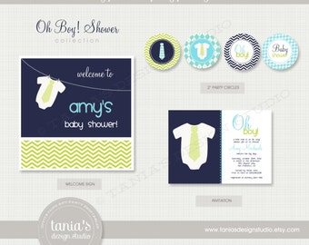 Oh Boy Shower Printable Baby Shower Party Package by tania's design studio