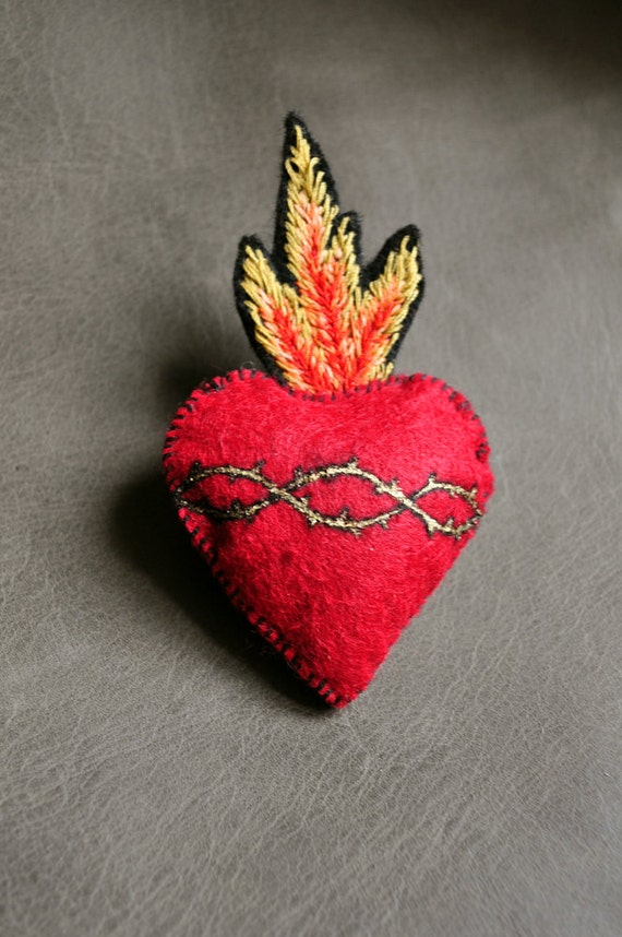 Sacred-Heart Felt Brooch Hand Embroidered