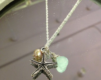 Life's a beach - Silver starfish necklace with wire wrapped faceted semi precious stones, ready to ship