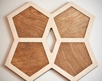 Wooden Trivet & Coaster - Pentagon