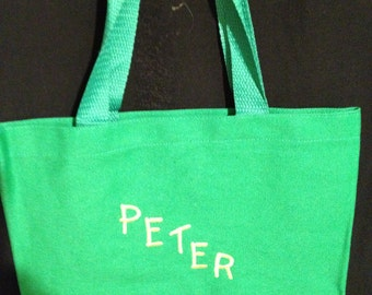 Embroidered bright colored 9x11 cotton tote bags with name