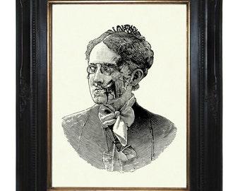 Zombie Nanny Mary Poppins Lady Victorian Steampunk Art Print Portrait Halloween Gothic