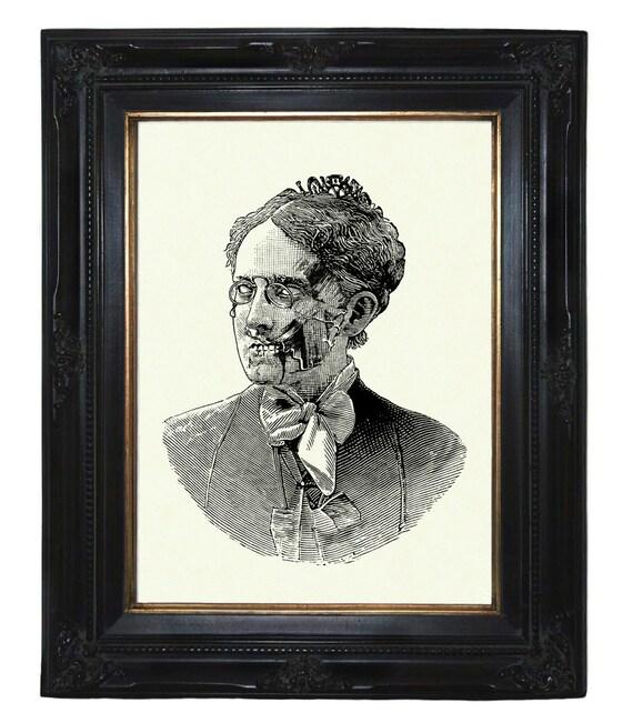 Zombie Nanny Mary Poppins Lady Victorian Steampunk art print portrait