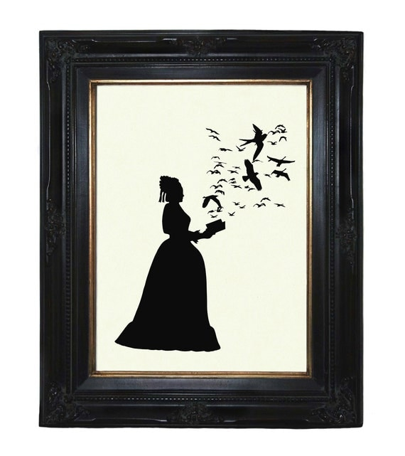 Silhouette Lady with Book Flock of Birds Victorian Steampunk art print