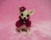 Needle Felted Cute Chihuahua Puppy with Cape and Flower Hat: Miniature Wool Felt Dog