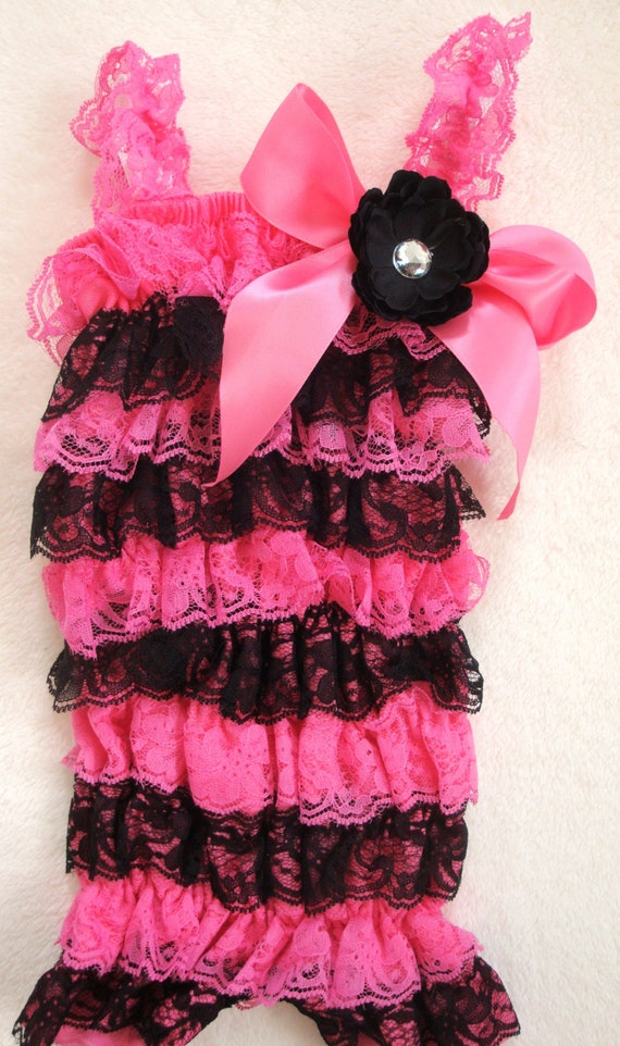 Hot pink amp black lace petti romper baby girl newborn infant child