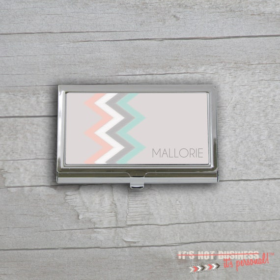 Business Card Holder - Scribble Chevron Custom Personalized