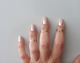 5 Above the Knuckle Rings - Rose gold plated thin shiny bands - set of 5 midi rings, Rose gold Band Ring ,Gold Band Ring.