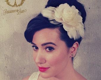 "Feather Hair Clip, Bridal Accessory, Bridal Flower Hairclip, Fascinator, Floral & Feather Bridal Hair Accessory, Birdcage Veil, ""GABRIELLE"""
