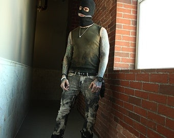 Black ski mask hat beanie with splatter paint zipper mouth face mask ZEF 90's glow