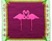 Flamingo Garden Pocket Square - Silk Purple Red Whine Bordeaux Chains - Gift For Him - Wedding