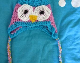 Crochet owl hat, Chapeau fait main de hibou de crochet