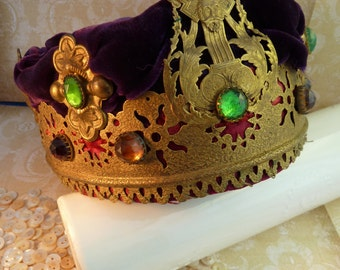 1930s Crown king Lear Theatre Costume Bejeweled Brass, glass gems, purple velvet, Steampunk, Victorian Costume design King Lear