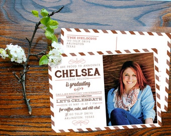 Graduation announcement postcards - Vintage airmail typography grad party invitations - Pippa