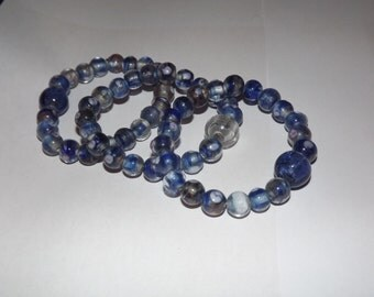Bead, Confetti Glass, Blue and Gold, 10mm round.