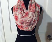 Rosy Sheer Infinity Scarf