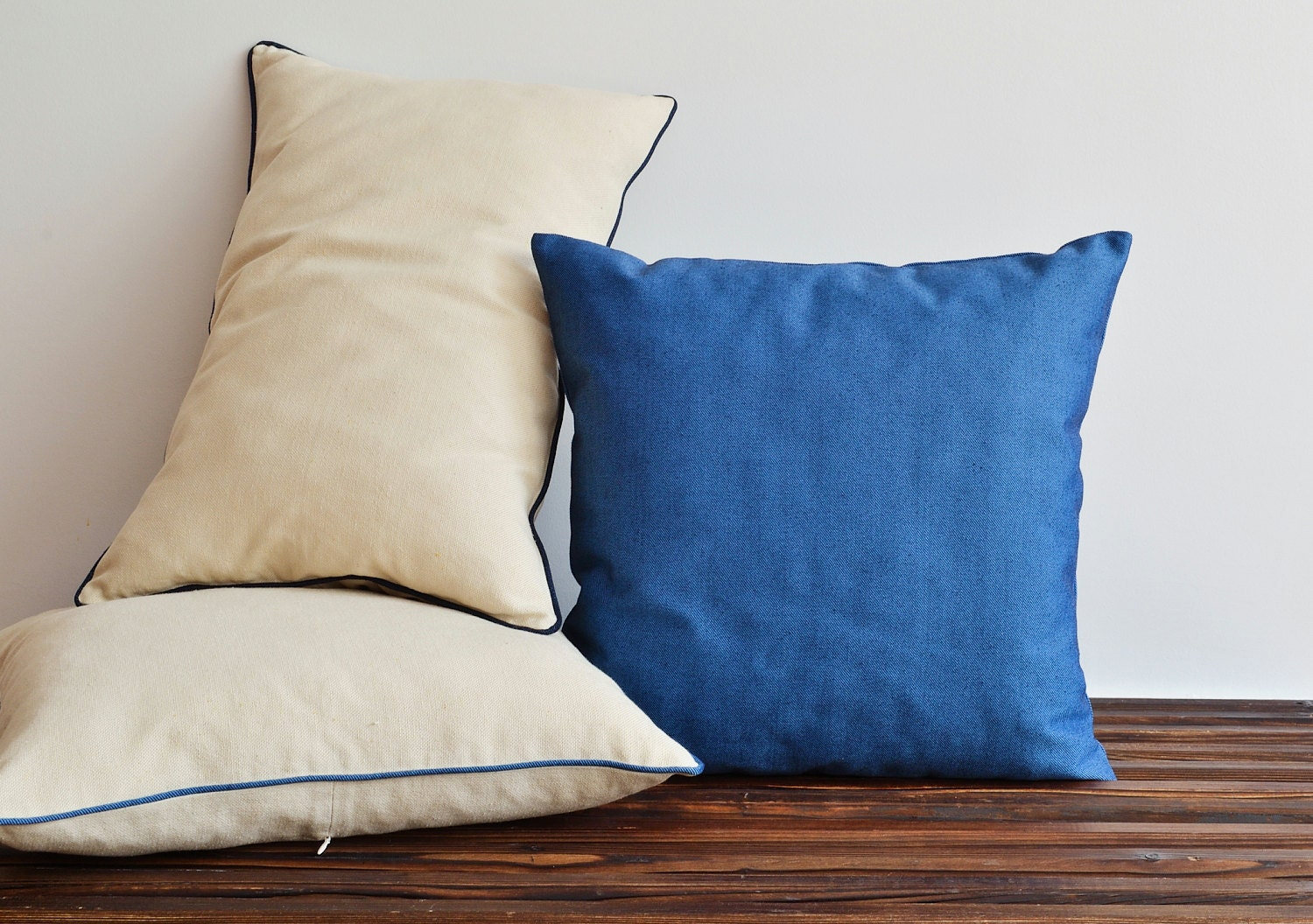 Blue Denim Pillow Cover 20x20 throw pillow by pillowme on Etsy