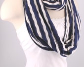 Infinity scarf Loop Circle Scarf Navy White stripe cowl women OOAK lightweight  Necklace by Fashion Designs 4U
