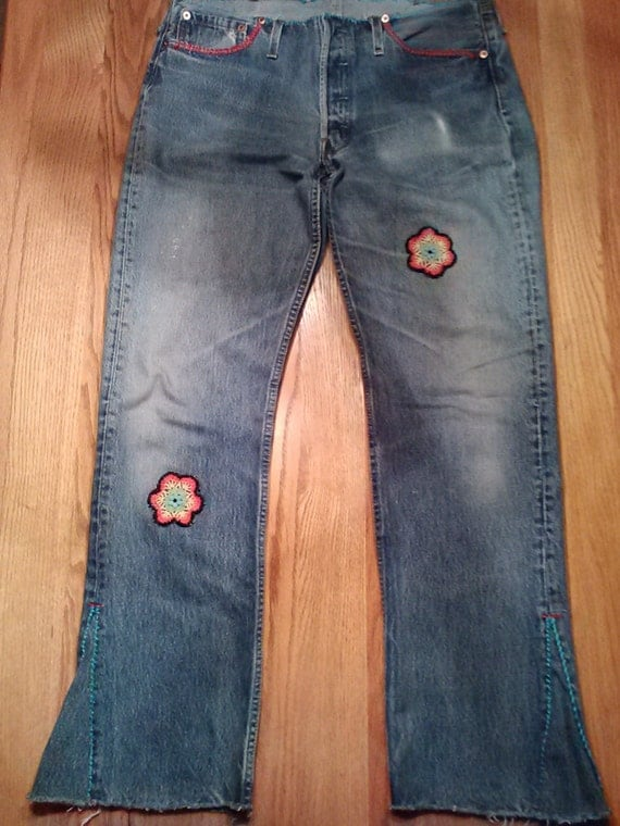 Custom order levi handcrafted embroidered patched by