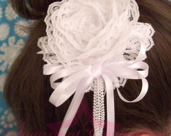 White Lace Rose Fascinator/Brooch