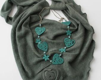 CLEARANCE SALE - Gray Triangular Scarf  - Soft Tricot Fabric Scarf - Cowl Scarf - Shawl Scarf -  Flower Scarf  421