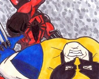 ACEO Original   Scarlet Spider vs. Wolverine Artist Sketch Card in Copics (oversized)