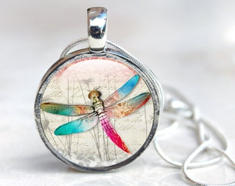 Dragonfly Necklace - Glass Dragonfly Necklace - Silver Dragonfly Necklace