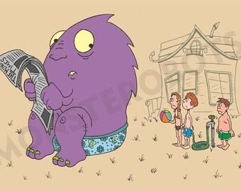 "Funny Purple Monster Art - ""The Floater"" - 13x19 Digital Print"