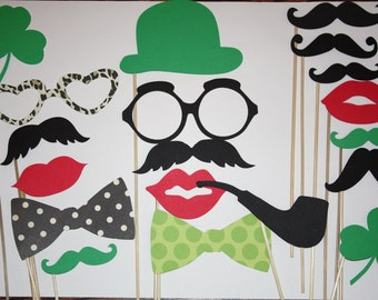 18 PhotoBooth Props, St Patrick's Day Mustaches, Lips, Wedding Photo Booth, Props on a Stick - B