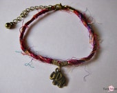 Recycled Indian Sari Silk Yarn Bracelet with Elephant Charm - Recycled - Colorful - Unique - India - Sari - Silk - Hamsa