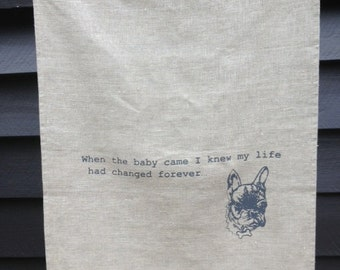 Ugly Truth 2 French Bulldog tea towel screenprinted in dark grey ink on 100% linen
