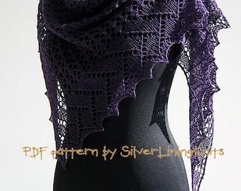 Windcatcher knit lace shawl pattern pdf instant download