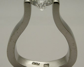 1 carat Canadian Diamond tension set in Custom Made 10% Iridium Platinum Engagement Ring