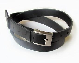 Black leather suit belt. ALL SIZES