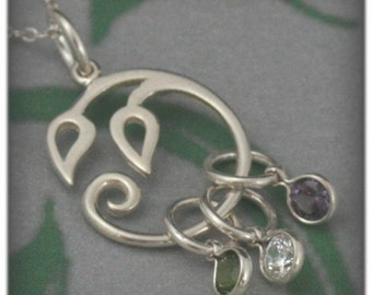 Sprouts Charmholder Pendant and ONE Birthstone Charm--Solid Sterling Silver Leaf Style Charm Holder Mother's Pendant