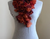 Hipster Orange and Pinks Fall and Winter Ruffled Scarf Art Deco Fantasy  Most Popular Modern