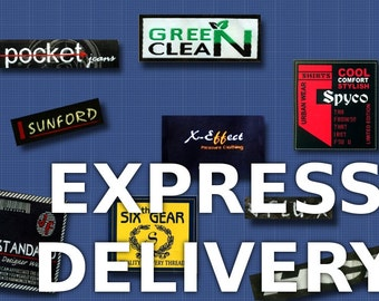 500 pcs. Custom Clothing Woven Labels - Express Shipping