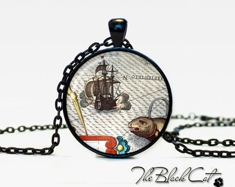 Vintage Ship pendant Vintage Ship jewelry Vintage Ship necklace Antique Style Ship Sea Monsters Antique Nautical Maps (PS0005)