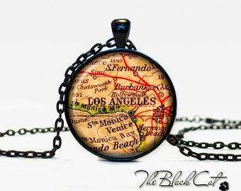 Vintage map of Los Angeles pendant Old map of Los Angeles necklace Antique map of Los Angelesjewelry (PVM00009)