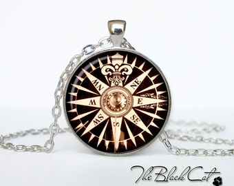 Steampunk Compass pendant Vintage Compass jewelry  Antique Style Compass Sea Monsters Antique Nautical Maps (PSC0002)