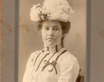 Antique Photo of Lady with Fluffy Hat