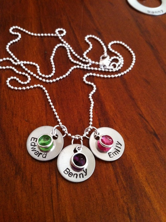 Personalized Necklace with 3 Stampable circles and Swarovski Crystals-great for nanna's and mums