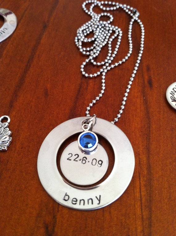 Personalized Necklace with 2 stampable blanks and Birth stone- Great Gifts for Mums and Grandmas